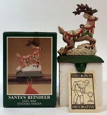 VTG Midwest Santa's Reindeer Cast Iron Christmas Stocking Hanger Holder - NEW