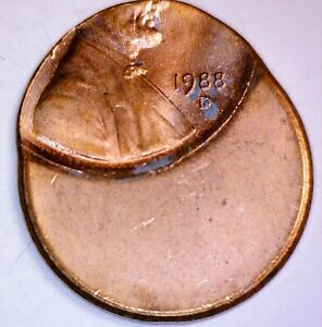 1988d ERROR Off Center Lincoln Cent Coin CH BU 'D' DENVER MINT O/C LOT #3  NR