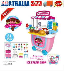 31Ps Simulation Ice Cream Shop Cart Kids Pretend Toy Set Supermarket Role Play