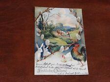 ORIGINAL EASTER EMBOSSED POSTCARD - HENS & RABBITS - c1905.