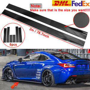 78.7'' Carbon Look Side Skirts Rocker Extension For LEXUS IS200T IS250 IS350
