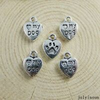 Antique Silver Alloy Heart Love My Dog Pendants Findings Charms Craft 58x 51147
