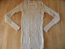 HOLLISTER toller langer V-Ausschnitt Pullover beige Gr. L ( eher S ) w. NEU 416