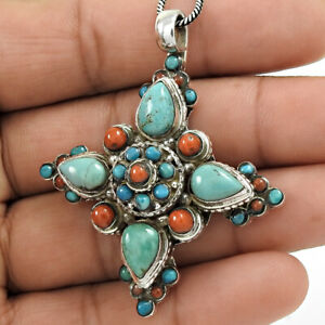 925 Sterling Silver Jewelry Pear Shape Turquoise Coral Gemstone Pendant N31