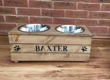 XL WOOD DOUBLE DOG FOOD WATER BOWL FEEDING STATION PERSONALISED RAISED FEEDER