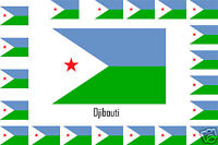 Assortiment lot de 25 autocollants Vinyle stickers drapeau Djibouti