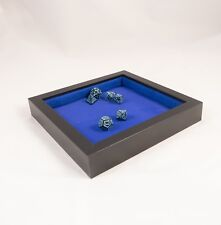 Wooden Dice Tray - Black and Blue Square - Padded D&D RPG Gaming Rolling Tray