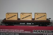 Ho Scale Mantua 727001 Santa Fe 40' Fishbelly Flat Car with 3 Crates 22458