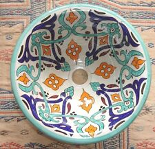 Moroccan small turquoise blue multi  hand painted ceramic round sink wash basin