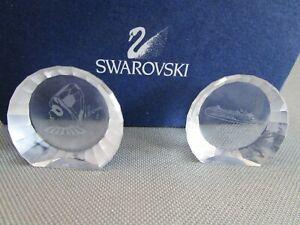 Swarovski MISTRAL & PIERROT Clown PAIR Disc Paperweight Crystal 2001 Box