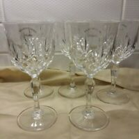 Killarney Crystal Ireland Marked Cut Ball Stem Wine Glass Goblets Set Of 5