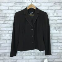 Norton McNaughton Womens 14P Brown 3 Button Front Blazer Classic Fit Career