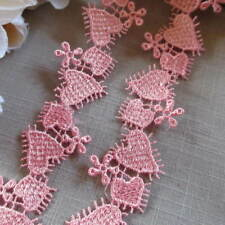 3 metres Pink Heart Daisy 25mm Guipure Lace Trimming