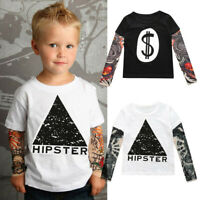 Boys O-Neck T-Shirt with Mesh Tattoo Printed Long Sleeve Tees Comfort Kids Tops