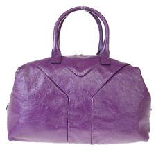 Authentic YVES SAINT LAURENT Easy Hand Bag Patent Leather Purple Italy 01EX787