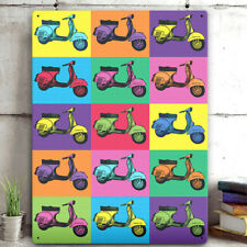 Pop Art Metal Wall Sign Vespa Scooter Plaque Warhol Style Home Decor Tin 30x41cm