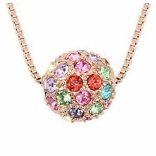DF19 Crystal Ball Necklace Purple Blue Gold Silver Clear Multi