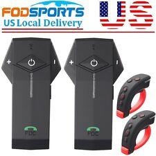 BT Motorcycle Helmet Bluetooth Intercom Interphone Headset + HandleBar Remote US