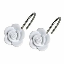 Saturday Knight Keila Rose Stylish Easily Fit Durable Shower Curtain Hooks White