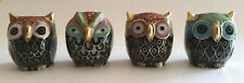 "Vintage Cloisonne Owls set of 4, 2"" H, Traditional Chinese Art, Collectible"