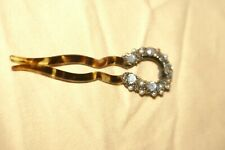 "Vintage Tortoise Shell Like Hair Pin EMBELLISHED WITH STONES/PEARLS 3.5""L"