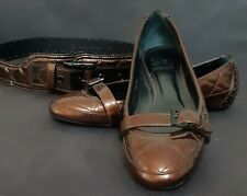 BURBERRY Brown Patent Leather Ballet Flats  size 38 US 7,5