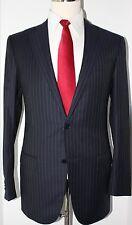 Ermenegildo Zegna Blue Two Button All Season Twill Side Vented Suit 38 L 33 32 1
