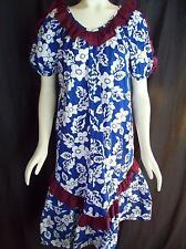 Vintage 80's Naupaka Hawaii Blue Floral Muu Muu Summer Dress MuuMuu Size 6