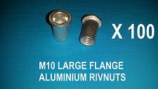 100XALUMINIUM RIVNUTS M10 NUTSERT RIVET NUT LARGE FLANGE NUTSERTS RIVNUT RIV NUT