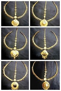 3 Lines Indian 22K Gold Plated Wedding Variation Different Types Maang Tikka