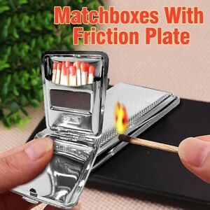 Stainless Steel Matchboxes With Friction Plate To Open And Close W/ One Buttons