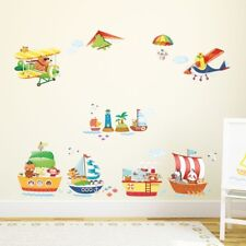 Decowall Animals Ship Airplanes Nursery Removable Wall Stickers Decal DAT-1506AC