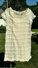 J.Crew Women's Silk/ Cotton sheer  Ruffles  Ivory Dress  Sz 8 NWOT