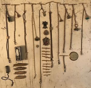 Antique Pocket Watch Chain Fob Lot Estate Find Some Sterling And Gold Filled Lot