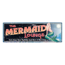 "The Mermaid Lounge Tin Sign 24""L Nautical Tropical Retro Decor Wall Art Plaque"