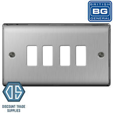 BG Nexus Metal Brushed Steel Satin Chrome 4 Gang Metal Front Cover Plate GNBS4