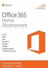 Microsoft Office 365 Home 5 PC/MAC + 5 Tablets 1 Jahr NEU oder VERLÄNGERUNG