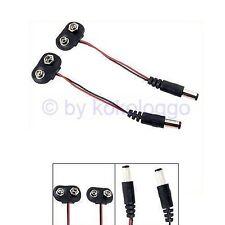 S464 - 2 pièces Batterie agrafe avec câble + DC Crampon 2,1mm Adaptateur 9V