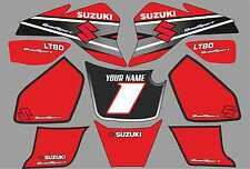 suzuki lt80 quad graphics stickers decals name & number lt 80 mx laminate red