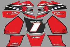 suzuki lt80 quad graphique autocollants prénom & numéro lt 80 mx stratifié rouge