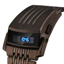 Men Led Digital IRON CYBERPUNK Black Stainless Steel Bracelet Sport Wrist Watch