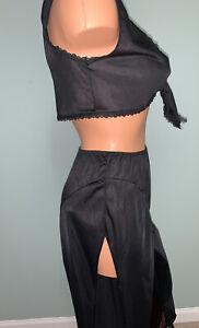 VTG FREDERICK'S OF HOLLYWOOD Black Nylon Disco Genie Jumpsuit M Bra Panty