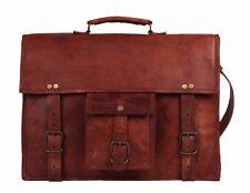 Vintag Leather Briefcase Messenger Bag 15 Inch Laptop Satchel Shoulder Bag