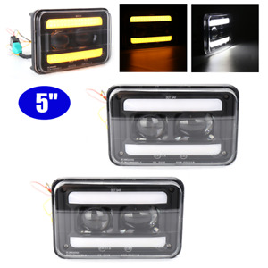 "2x5"" Flush Mount LED Lens Car Work Light Bar Front Bumper Truck SUV Hi&Low Beam"