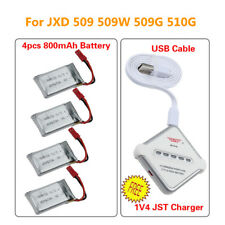 4x 800mAh Lipo Battery & 4in1 JST Charger Set for JXD 509 509G 509W 510G Drone