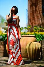 Eliza J Scarf Print Crêpe de Chine Fit & Flare Maxi Dress Hot Pink Halter Sz 14P