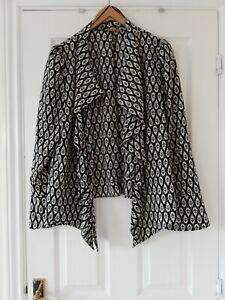 Barbara Hulanicki Biba Black Cream Waterfall Front Soft Jacket Size 18 Fits...