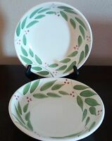 Italian Made Coupe Pasta/Soup Bowls x2 Green Leaves, Red Berries