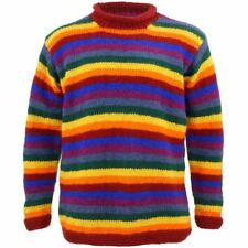 Wool Jumper RAINBOW Chunky Knit Knitted Sweater Pullover Rolled Crew Neck