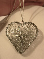 Handsome Latticed Wire-Wound 3-Dimensional Heart Silvertone Pendant Necklace